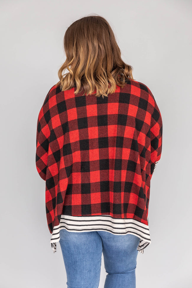 Southern Nights Plaid Red/Black Poncho
