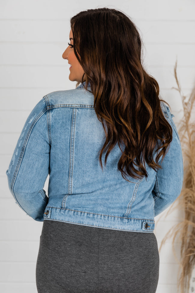 Stay Beautiful Medium Wash Denim Jacket