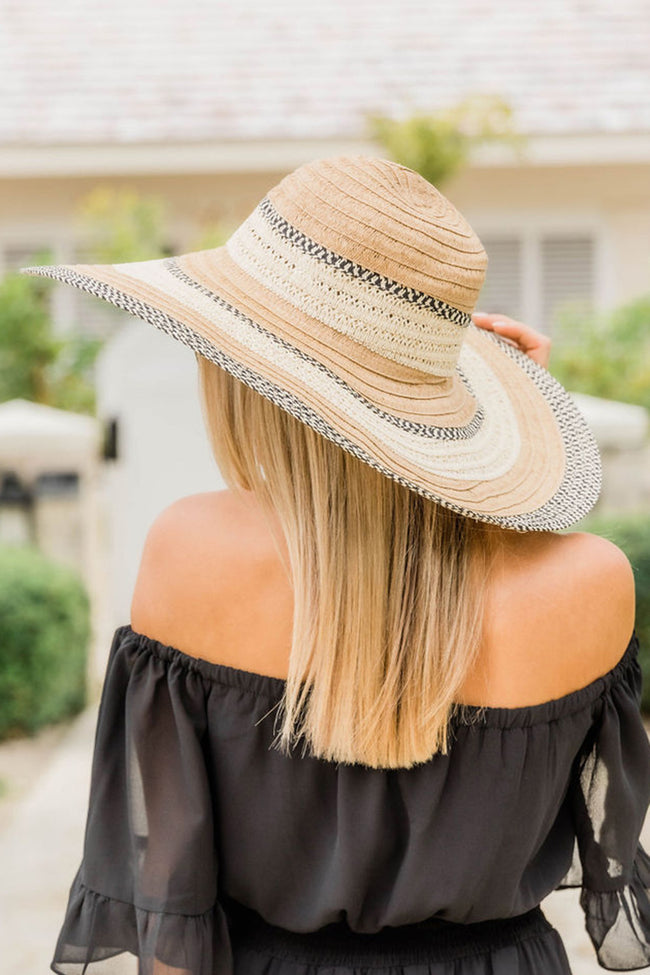 Stay Sunny Forever Printed Border Straw Hat Tan