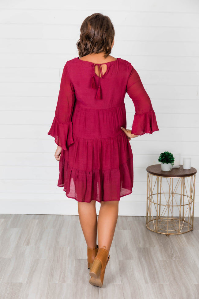 Story Of Tonight Burgundy Dress