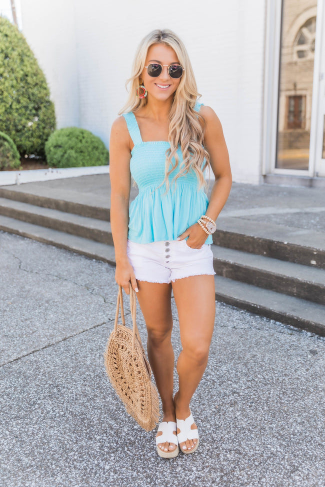 Summer Wonderland Light Blue Peplum Tank
