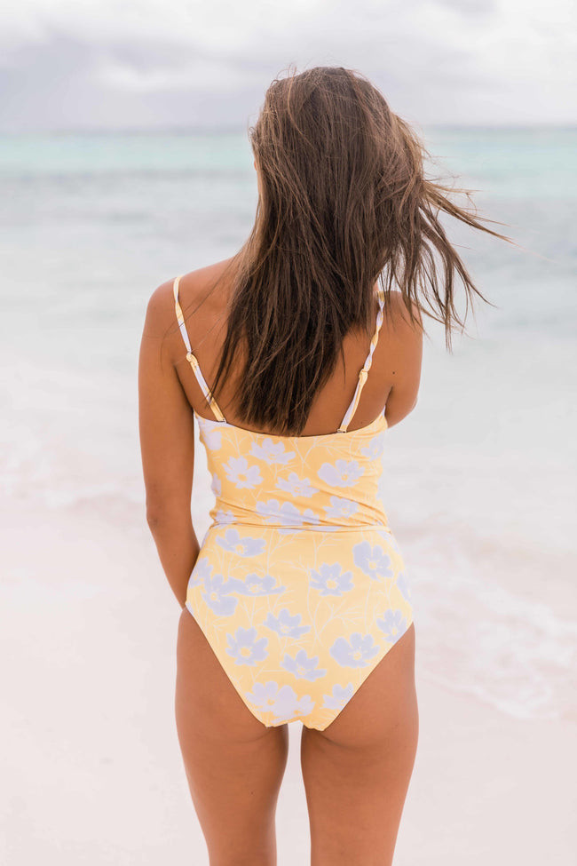 Sunshine In Her Eyes Floral One Piece Yellow Swimsuit
