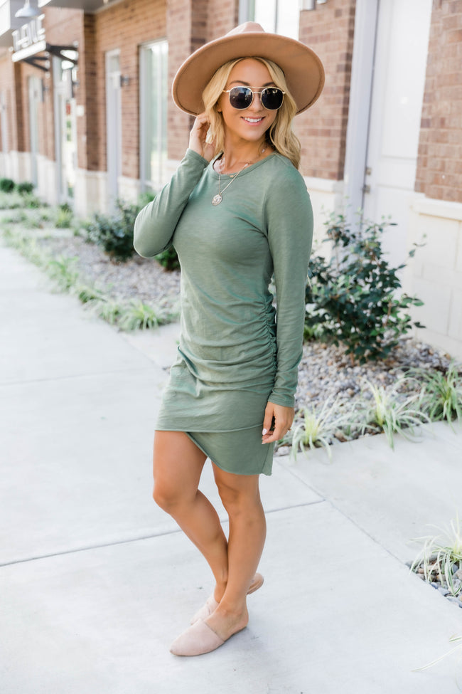 Sure To Fall In Love Olive Dress