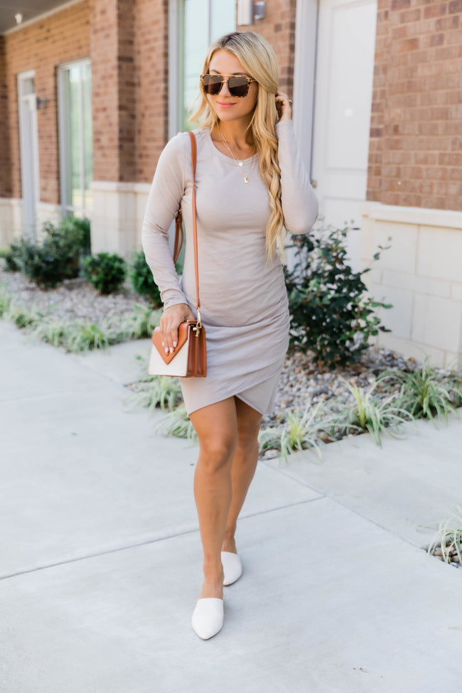 Sure To Fall In Love Taupe Dress