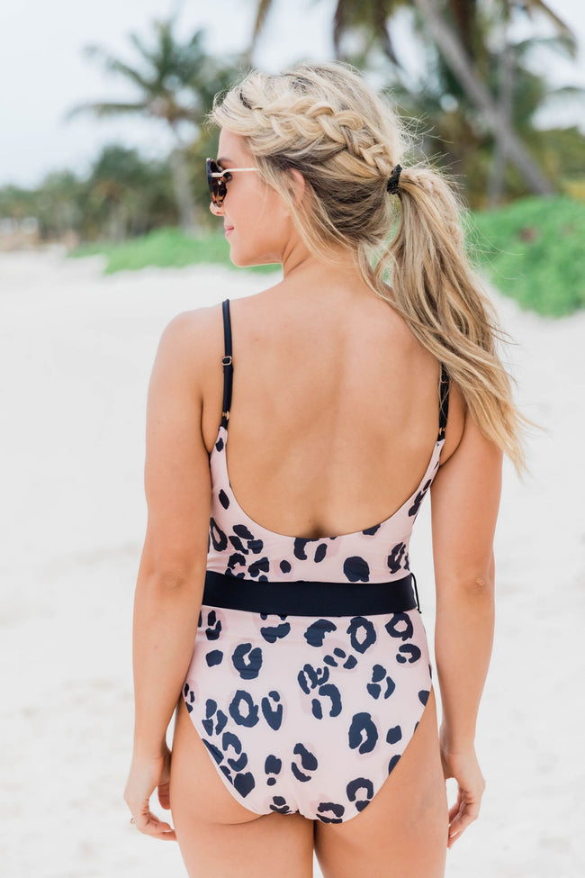Surfing Safari Leopard Print Belted Pink Swimsuit