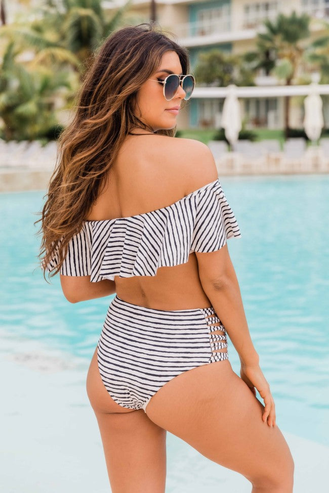 Sweetest Escape Black/White Striped Swimsuit Bottom