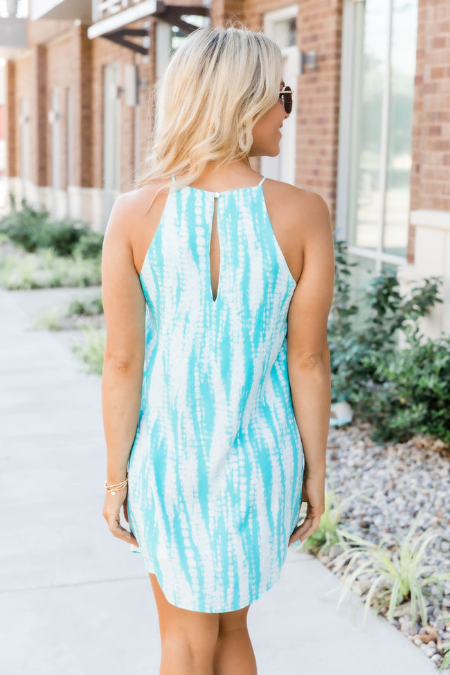 Tahiti Is Calling Turquoise Tie Dye Dress FINAL SALE