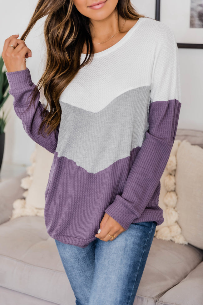 Take Care Of Your Heart Lilac Dusty Chevron Pullover FINAL SALE