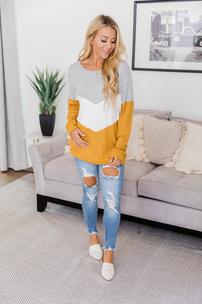 Take Care Of Your Heart Mustard Chevron Pullover
