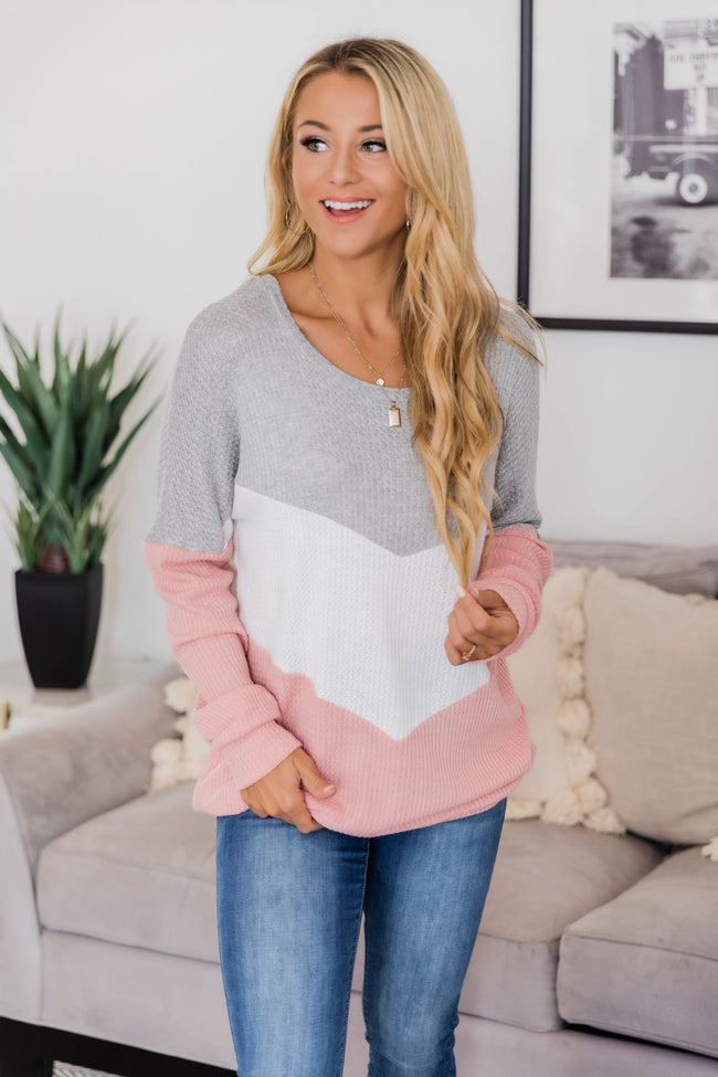 Take Care Of Your Heart Pink Chevron Pullover