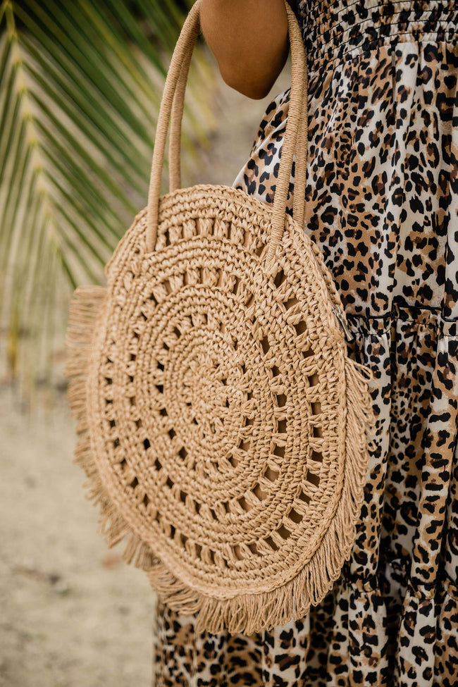 Take Me To The Beach Straw Circle Purse Tan