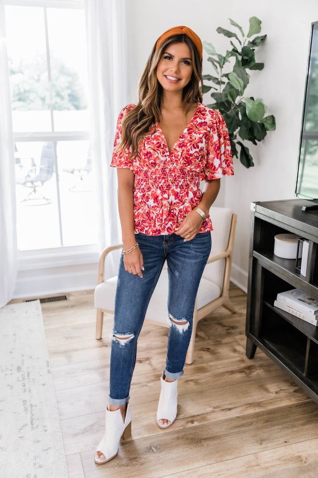 Taking The Risk Floral Top Ivory/Red FINAL SALE