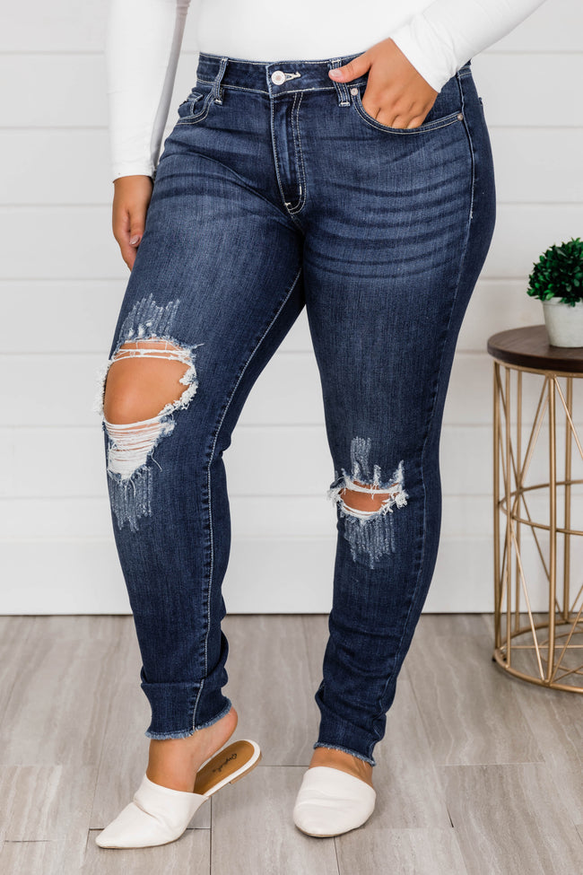 The Kallista Dark Wash Distressed Crop Jeans