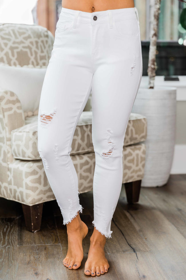 The Angelica White Distressed Crop Jeans