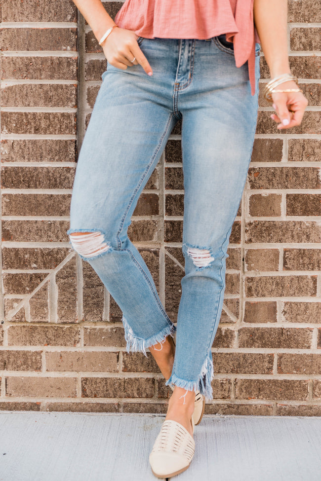 The Eloise Light Wash Distressed Crop Jeans