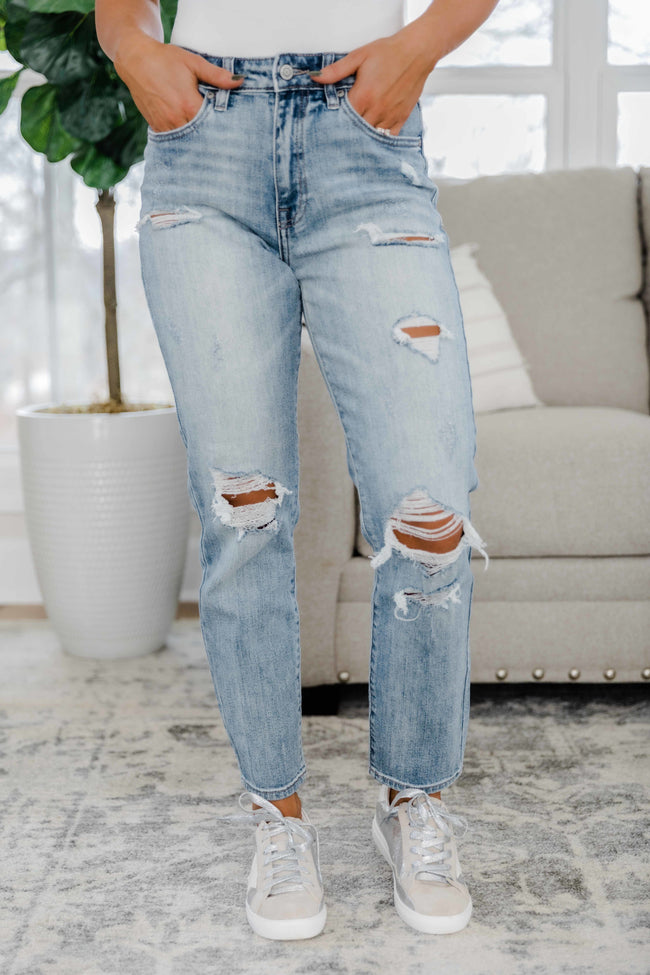 The Jessie Light Wash Distressed Mom Jean