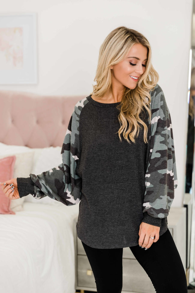 The One I Love Charcoal Camo Print Blouse