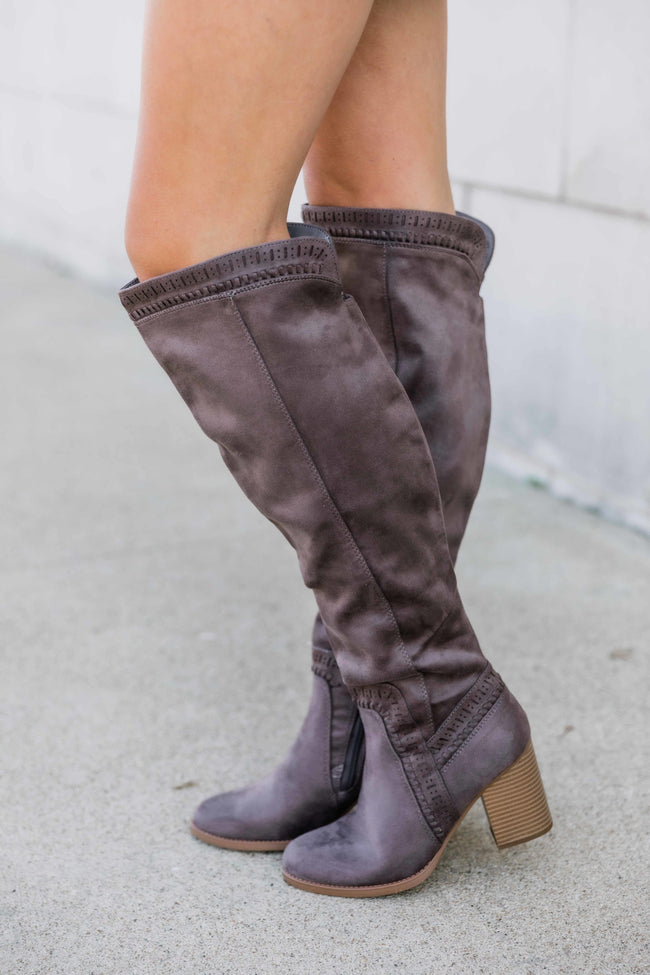 The Verona Dark Taupe Knee High Boots FINAL SALE