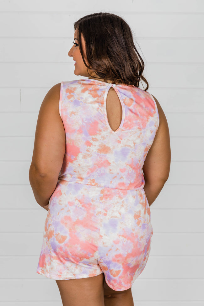 Think A Happy Thought Lavender/Peach Tie Dye Romper