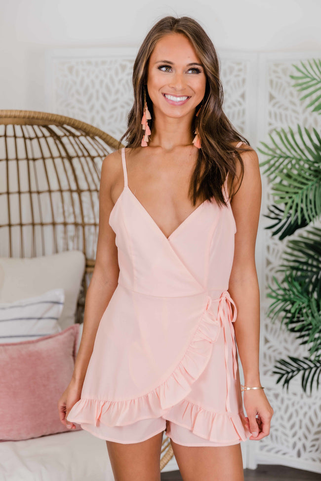 Think Of Me Side Tie Cami Romper Blush FINAL SALE