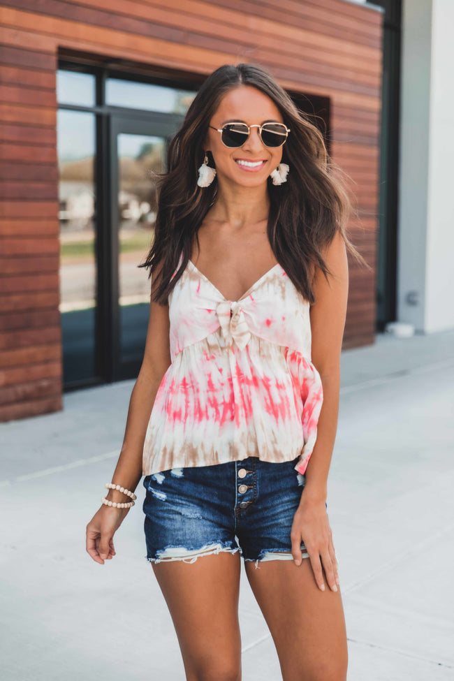 Tied To You Babydoll Tie Dye Tank Ivory