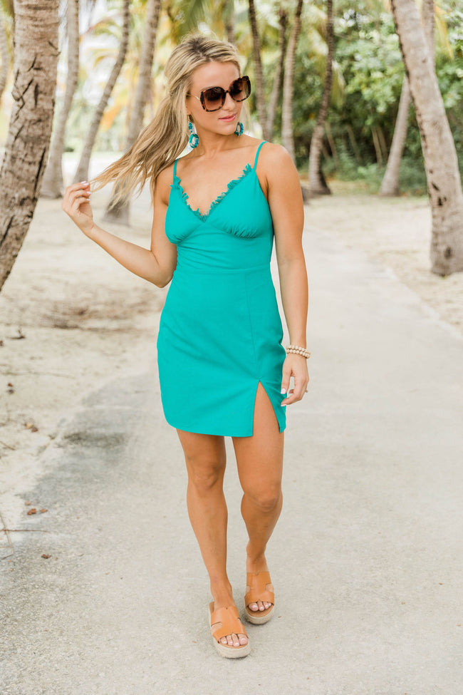 Time of My Life Solid V-Neck Dress w/ Slit Turquoise CLEARANCE
