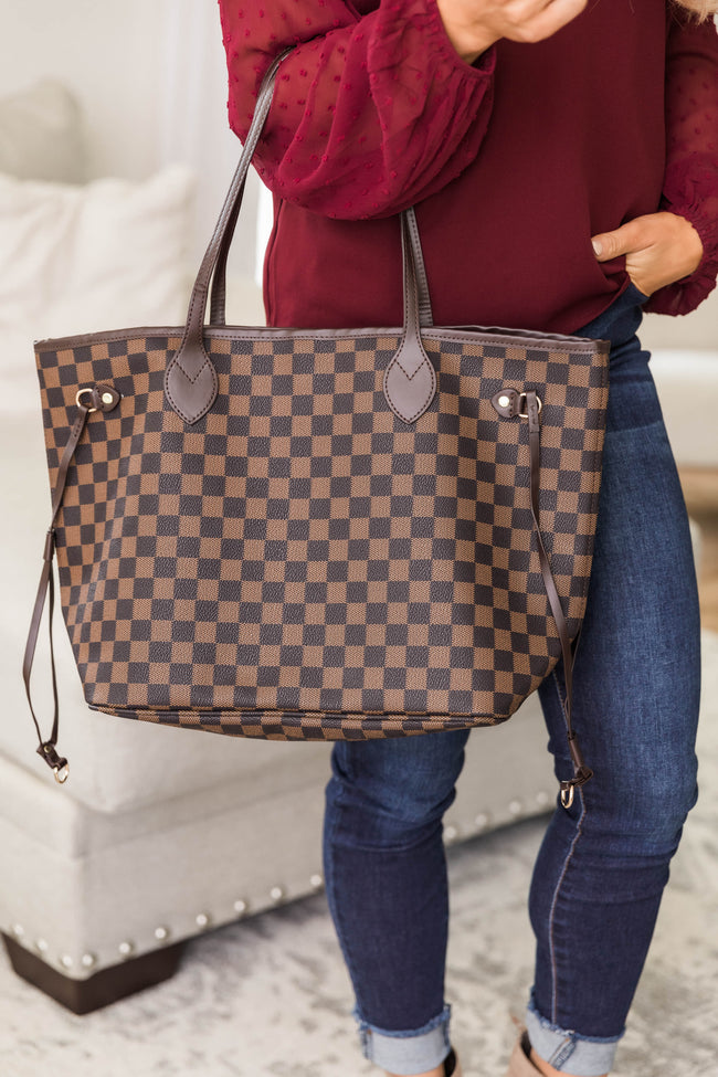 Timeless Style Checkered Tote Brown Bag