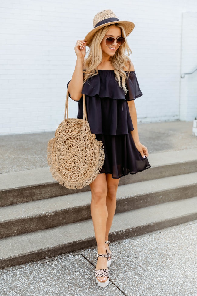 Toast To The Night Tiered Dress Black