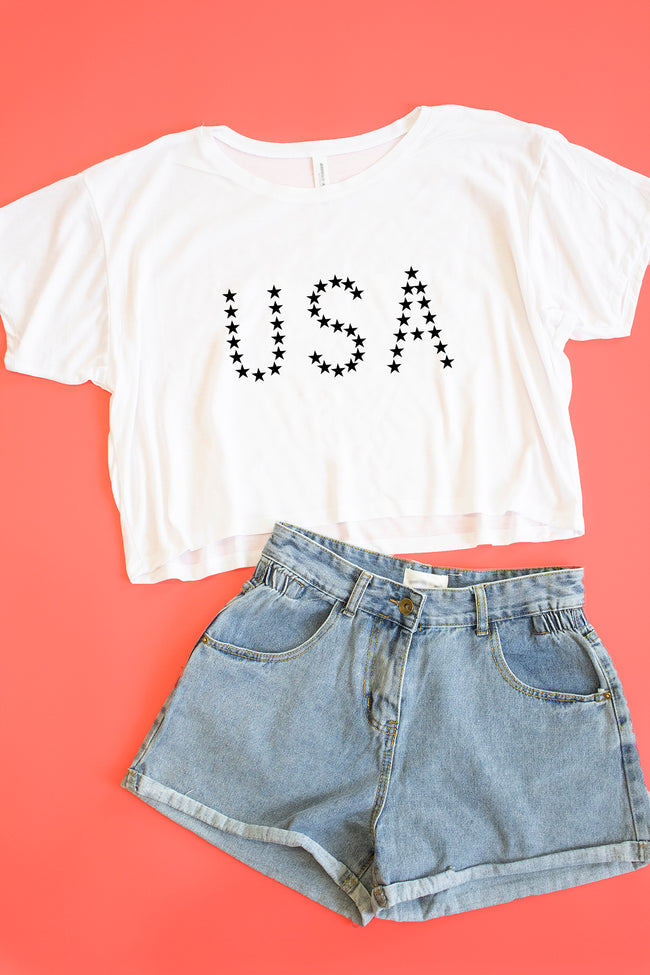 USA Stars Cropped Graphic Tee