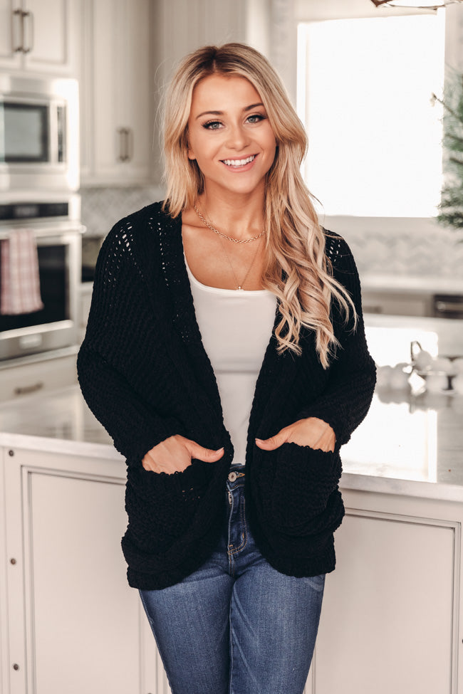 Undeniable Connection Chenille Black Cardigan FINAL SALE