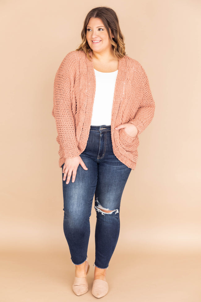 Undeniable Connection Chenille Salmon Cardigan FINAL SALE