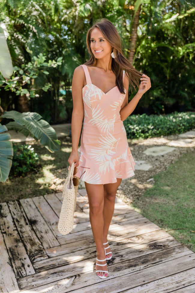 Under The Palms Tropical Print Bodycon Dress Peach FINAL SALE