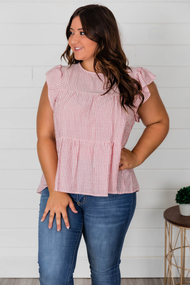 Unique To This Love Striped Blouse Red/Ivory