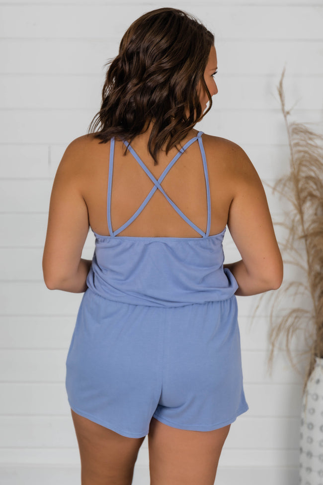 Uptown Girl Romper Blue