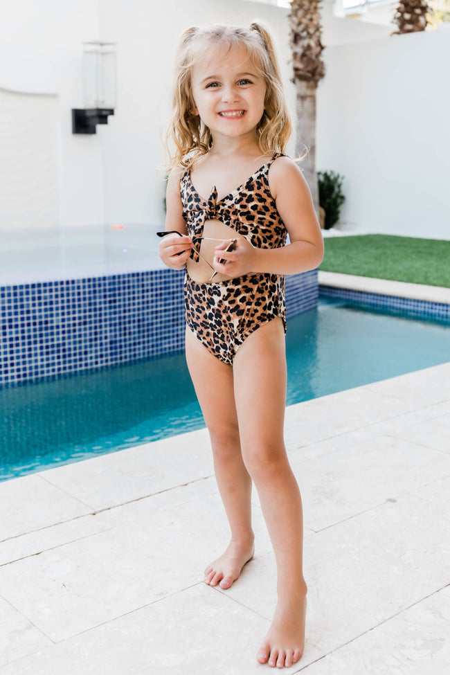 Waiting For Waves Kid's Leopard Print One Piece Swimsuit FINAL SALE