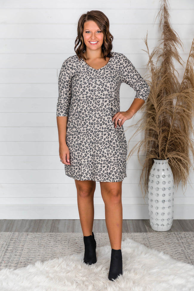 Wanna Be With You Beige Animal Print Dress