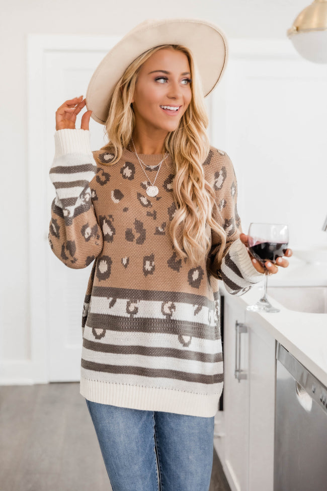 What About Love Mocha Animal Print Sweater FINAL SALE