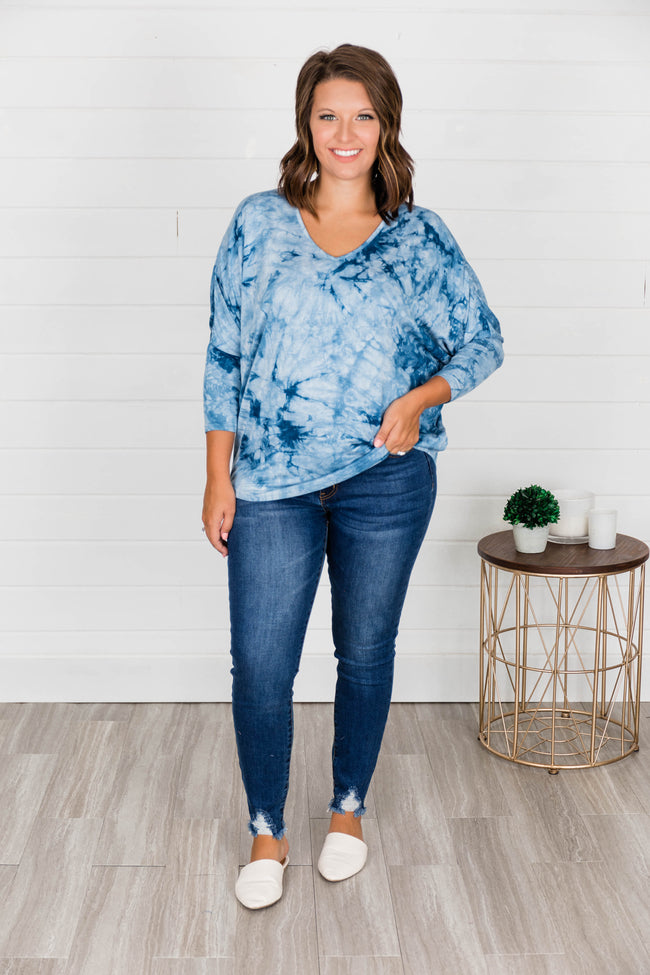 Wherever You Go Tie Dye Blouse Blue CLEARANCE