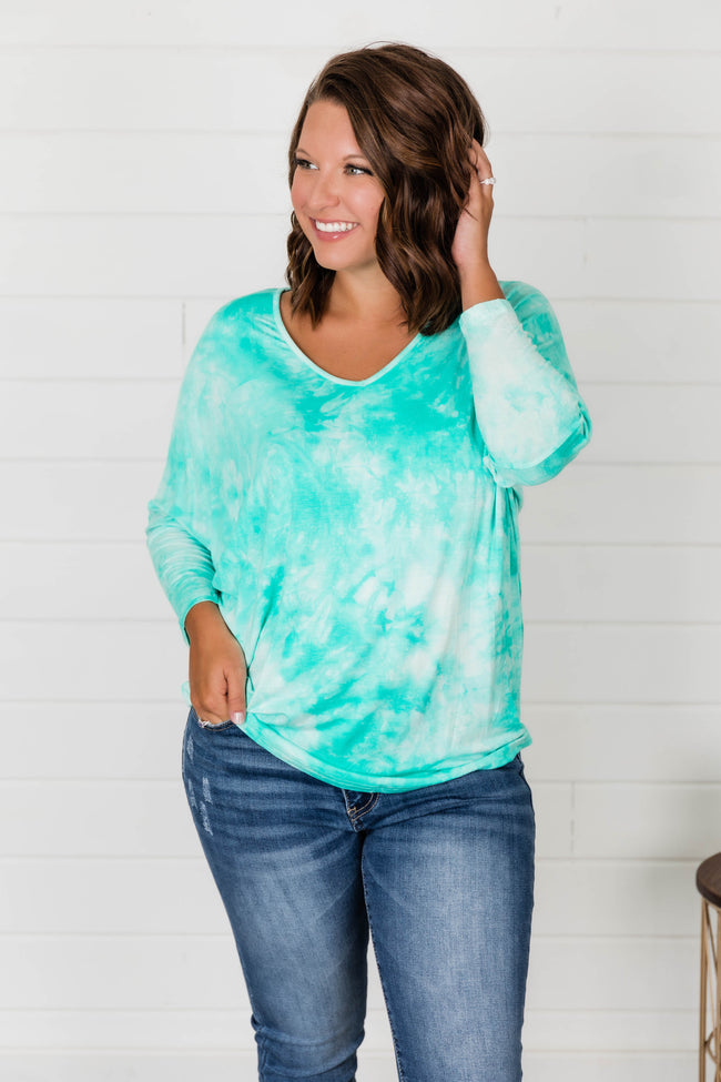 Wherever You Go Tie Dye Blouse Green FINAL SALE