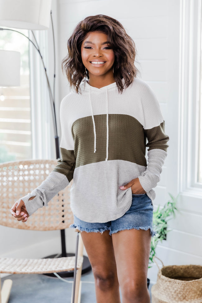 Why Not Fall In Love Olive Colorblock Hoodie
