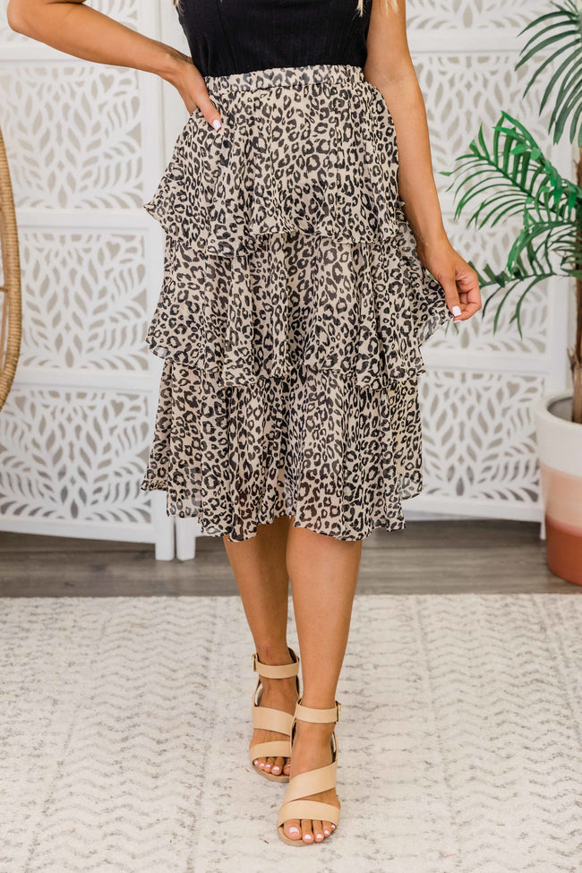 Wild About Your Love Midi Skirt Taupe