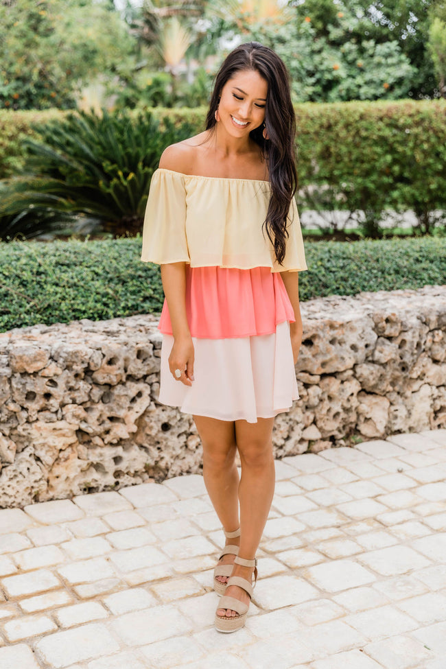 Wishing On A Star Pink/Yellow Colorblock Dress