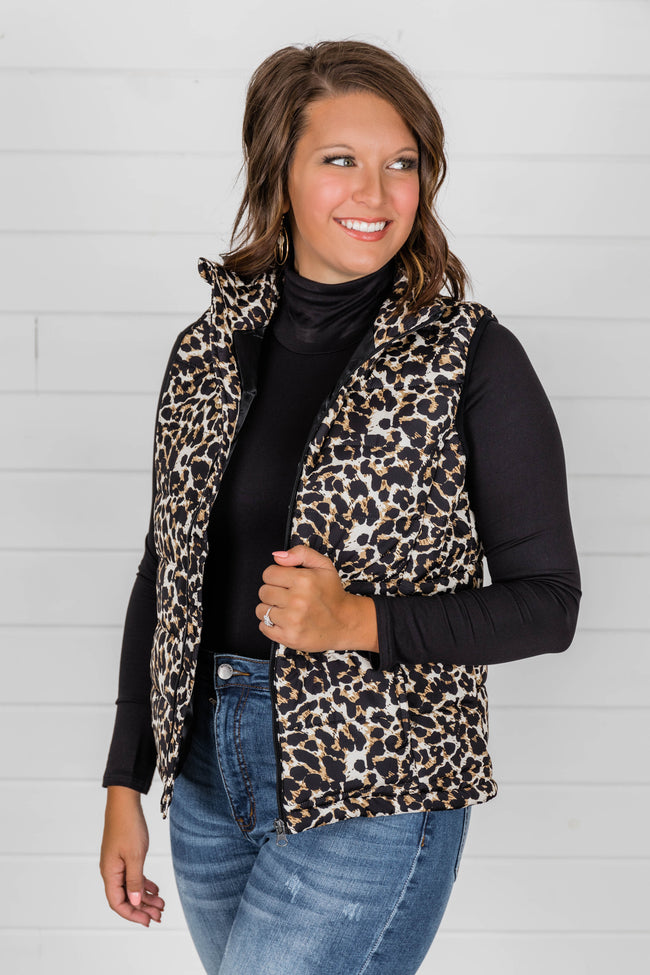Won't Miss My Chance Animal Print Puffer Vest FINAL SALE