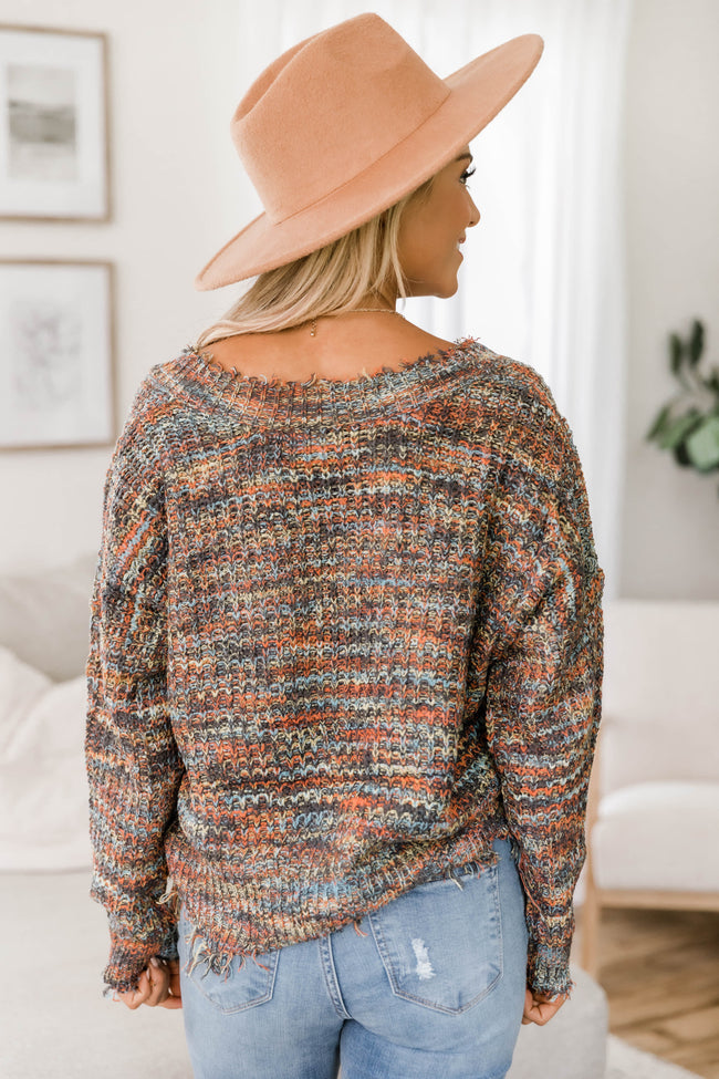 Won't Take You For Granted Multicolor Distressed Sweater