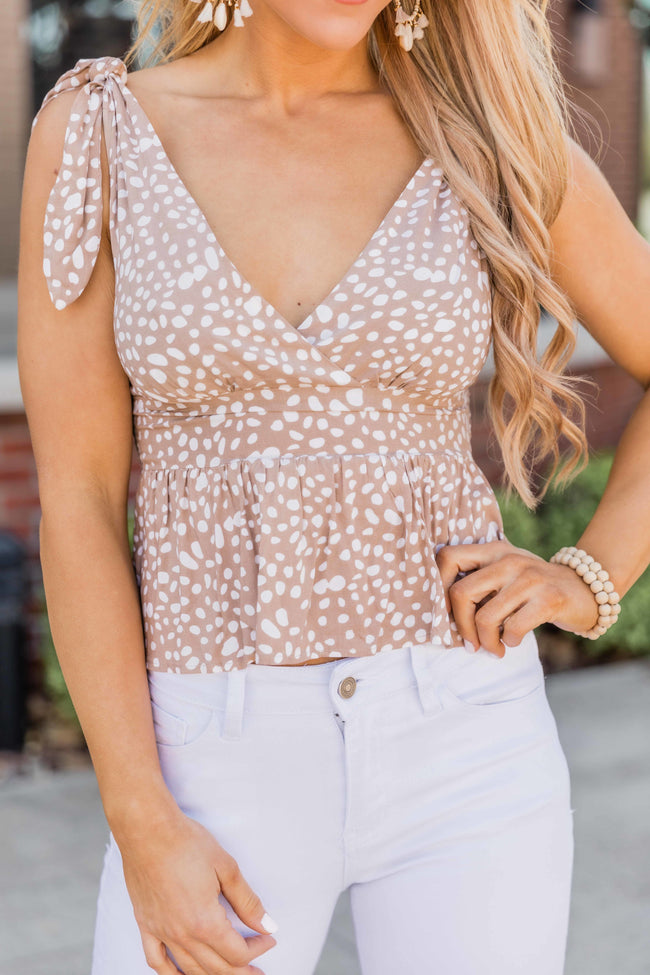 Won't Wait Forever Taupe Printed Cropped Tank