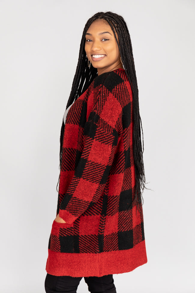 Worthwhile Risk Buffalo Plaid Red Cardigan