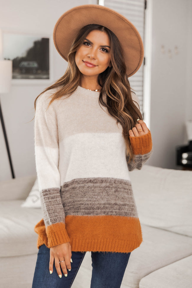 You Are Unforgettable Colorblock Sweater Rust