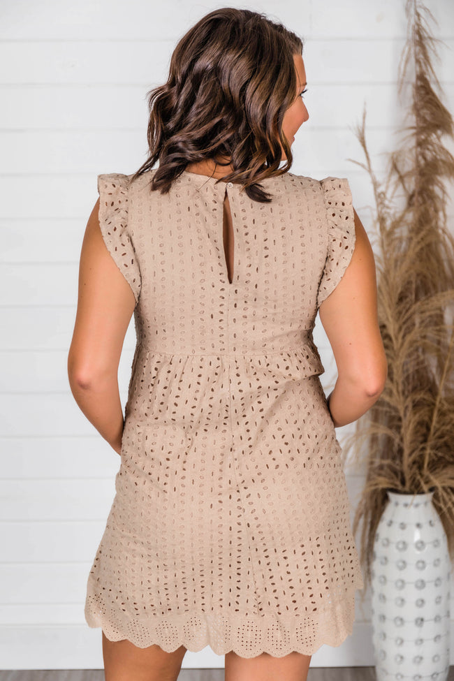 You Found My Heart Taupe Lace Romper