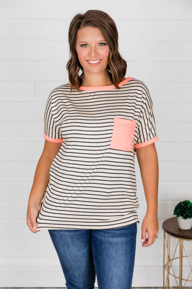 You Make It Easy Pink Striped Blouse CLEARANCE