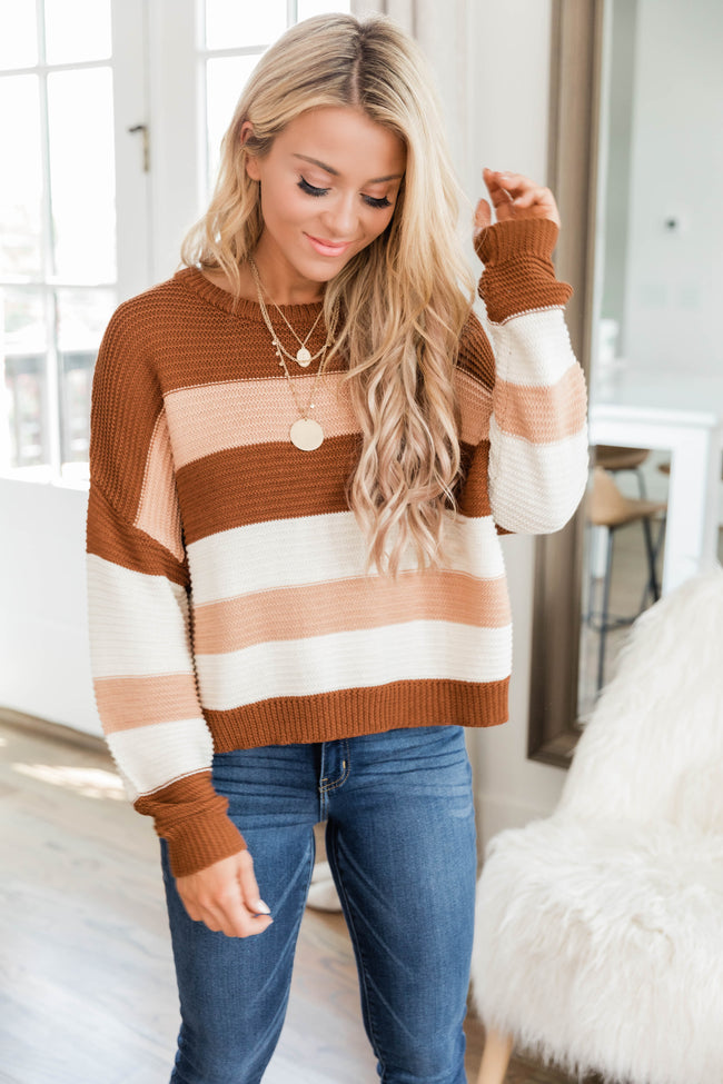 You Know I Adore You Brown Striped Sweater